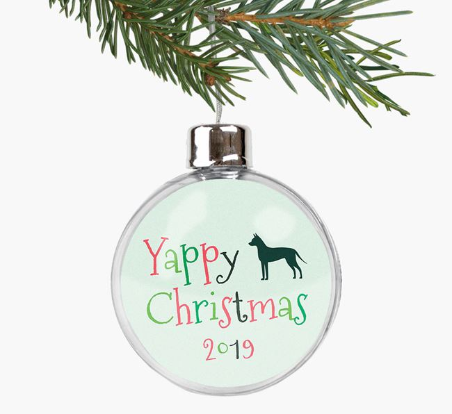 'Yappy Christmas' Fillable Bauble with your American Hairless Terrier Silhouette