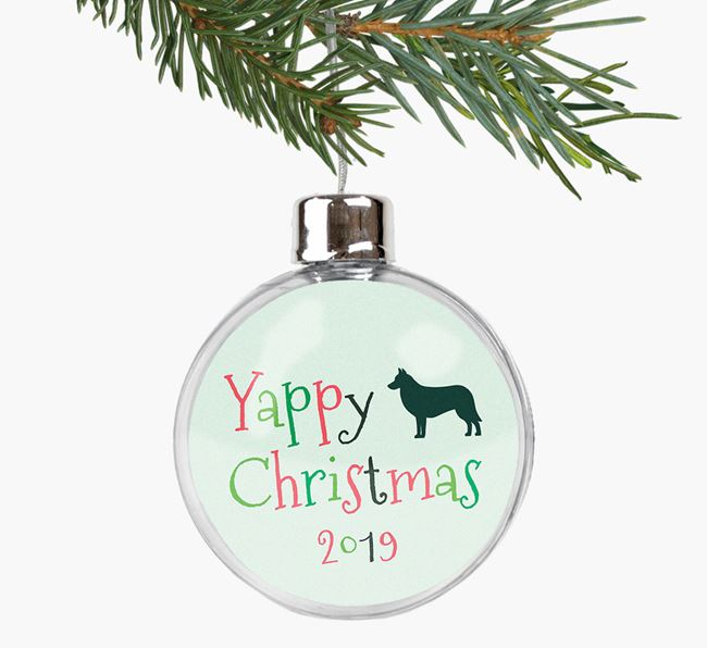 'Yappy Christmas' Fillable Bauble with your Belgian Laekenois Silhouette