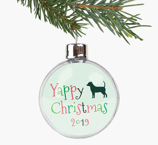 'Yappy Christmas' Fillable Bauble with your Cheagle Silhouette