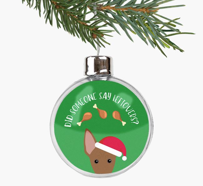 Fillable Bauble 'Leftovers' with your American Hairless Terrier Christmas Icon