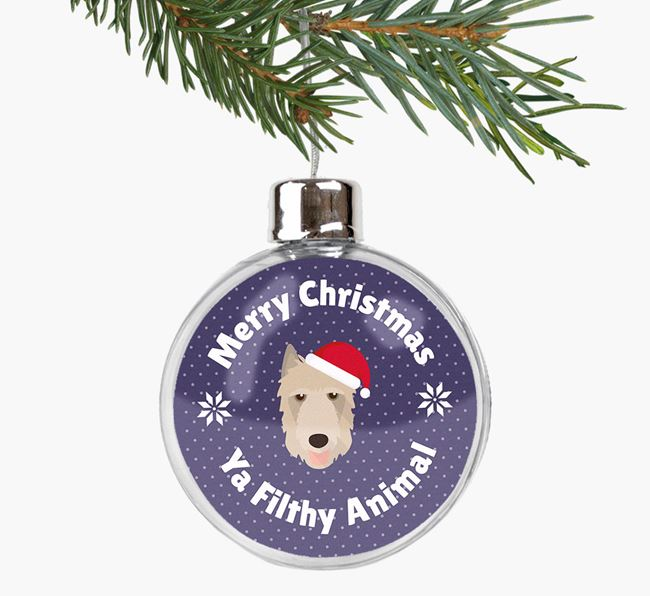 Fillable Bauble 'Filthy Animal' with your Belgian Laekenois Christmas Icon