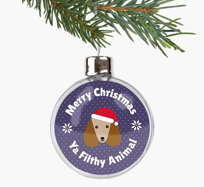 Fillable Bauble 'Filthy Animal' with your Poodle Christmas Icon
