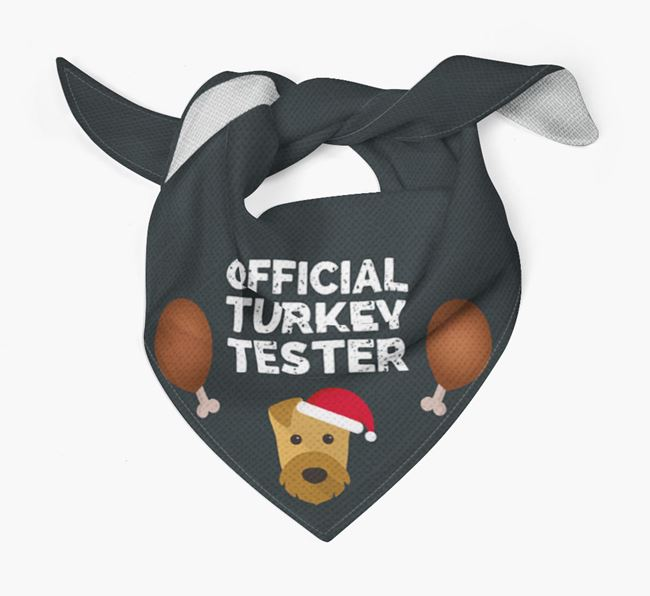 'Official Turkey Tester' Christmas Bandana with Airedale Terrier Icon