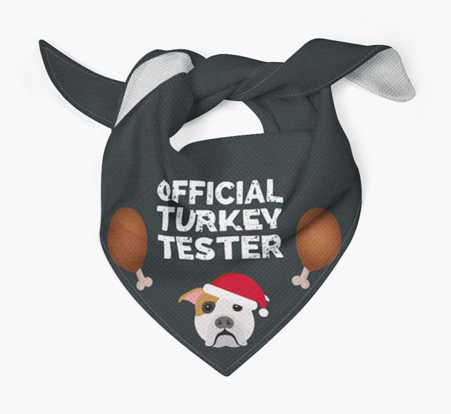 'Official Turkey Tester' Christmas Bandana with American Bulldog Icon