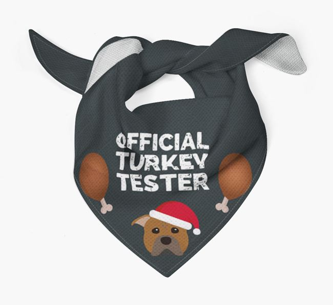 'Official Turkey Tester' Christmas Bandana with American Pit Bull Terrier Icon