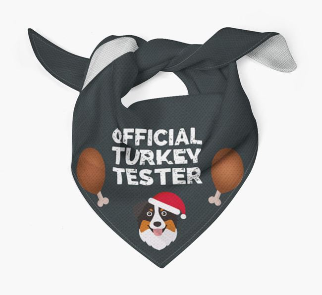 'Official Turkey Tester' Christmas Bandana with Australian Shepherd Icon