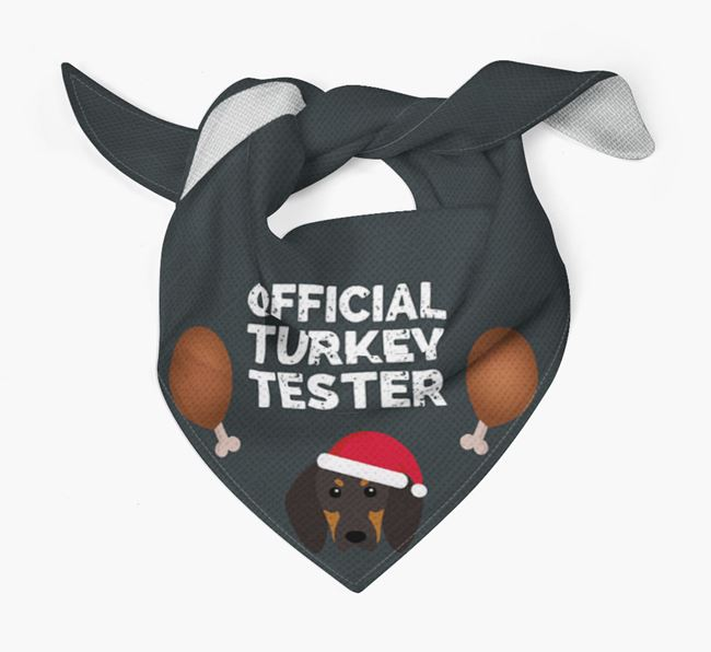 'Official Turkey Tester' Christmas Bandana with Black and Tan Coonhound Icon