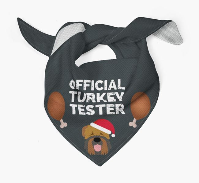 'Official Turkey Tester' Christmas Bandana with Black Russian Terrier Icon