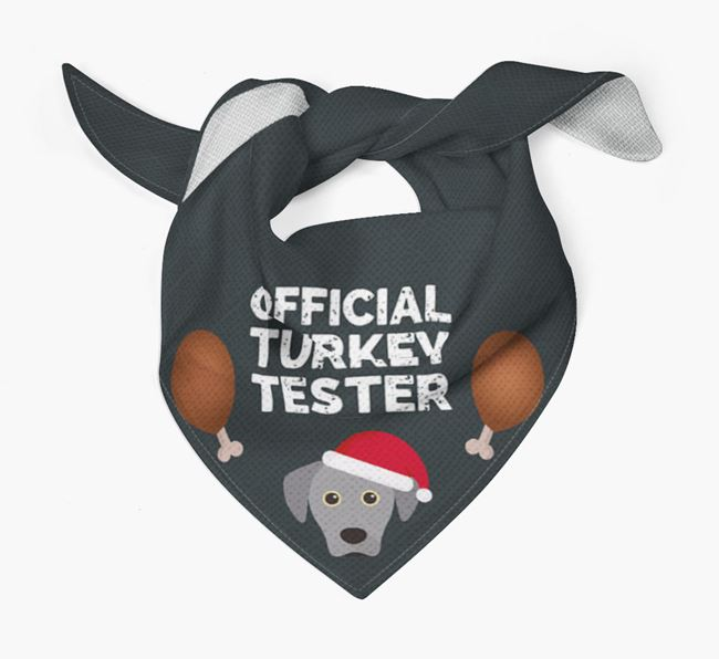 'Official Turkey Tester' Christmas Bandana with Blue Lacy Icon