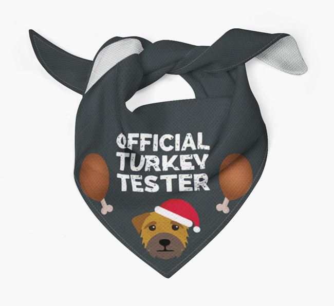'Official Turkey Tester' Christmas Bandana with Border Terrier Icon