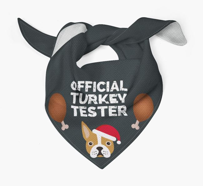'Official Turkey Tester' Christmas Bandana with Boston Terrier Icon