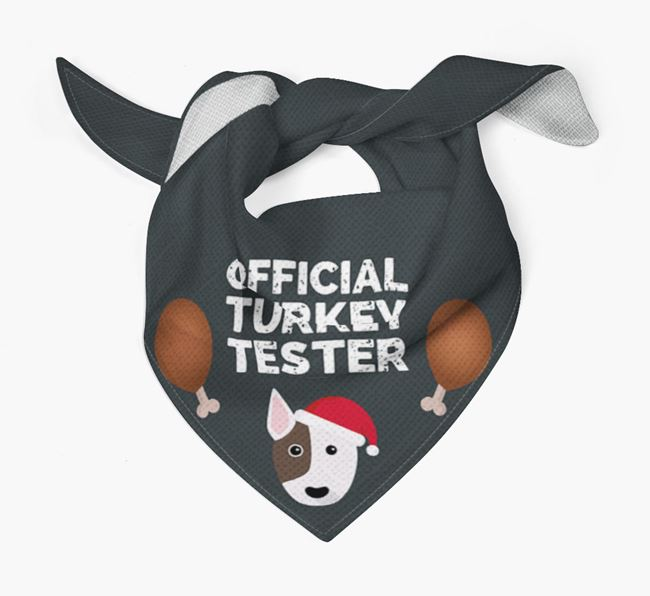 'Official Turkey Tester' Christmas Bandana with Bull Terrier Icon