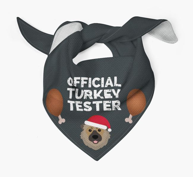 'Official Turkey Tester' Christmas Bandana with Caucasian Shepherd Dog Icon