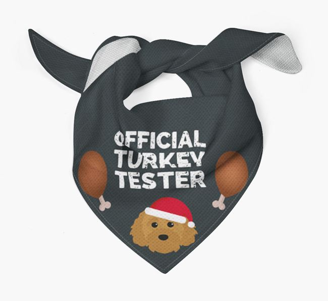 'Official Turkey Tester' Christmas Bandana with Cavapoochon Icon