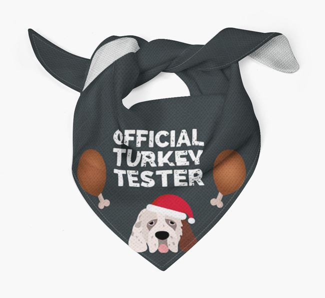 'Official Turkey Tester' Christmas Bandana with Clumber Spaniel Icon