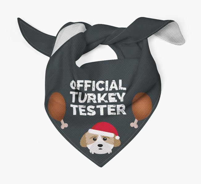 'Official Turkey Tester' Christmas Bandana with Cockachon Icon