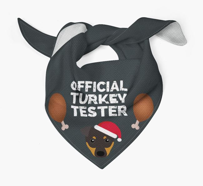 'Official Turkey Tester' Christmas Bandana with English Toy Terrier Icon