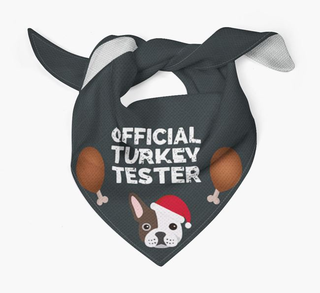 'Official Turkey Tester' Christmas Bandana with French Bulldog Icon