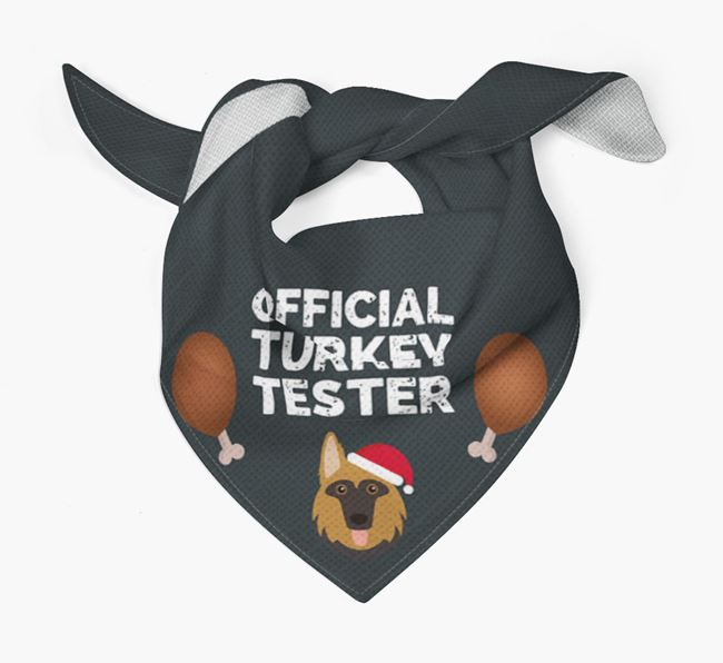 'Official Turkey Tester' Christmas Bandana with German Shepherd Icon