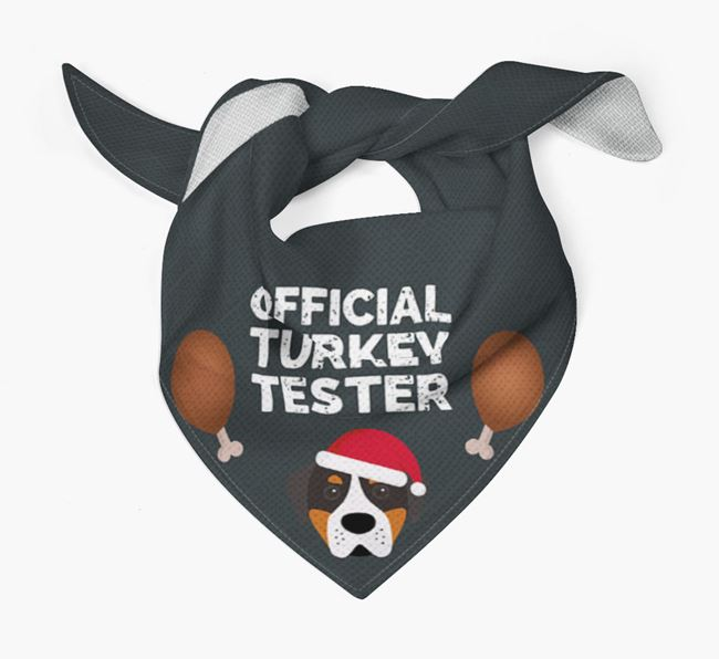 'Official Turkey Tester' Christmas Bandana with Greater Swiss Mountain Dog Icon