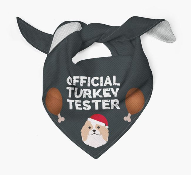 'Official Turkey Tester' Christmas Bandana with Japanese Chin Icon