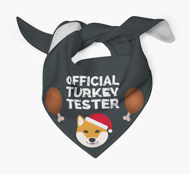 'Official Turkey Tester' Christmas Bandana with Japanese Shiba Icon
