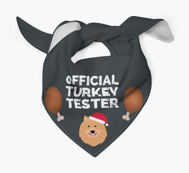 'Official Turkey Tester' Christmas Bandana with Keeshond Icon