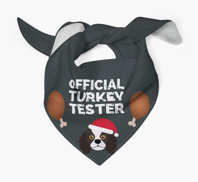 'Official Turkey Tester' Christmas Bandana with King Charles Spaniel Icon