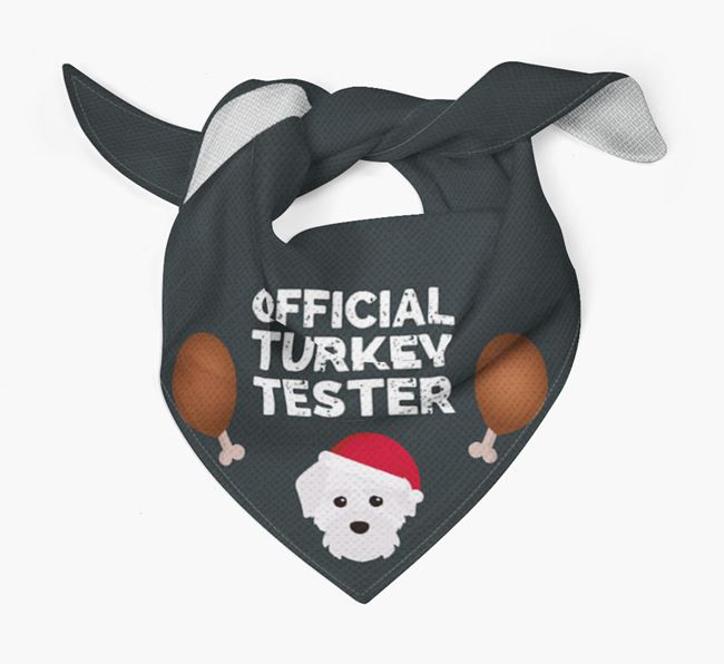 'Official Turkey Tester' Christmas Bandana with Maltichon Icon