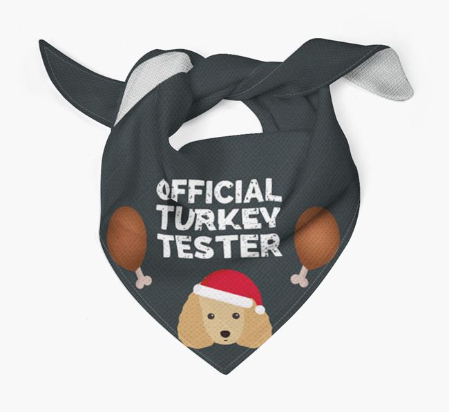 'Official Turkey Tester' Christmas Bandana with Miniature Poodle Icon