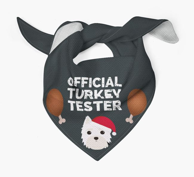 'Official Turkey Tester' Christmas Bandana with Morkie Icon