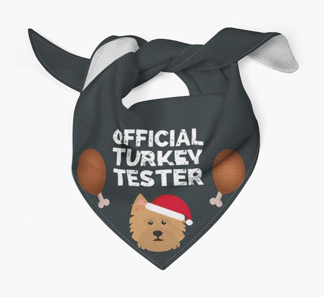 'Official Turkey Tester' Christmas Bandana with Norwich Terrier Icon