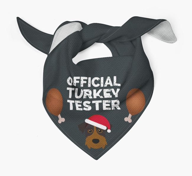 'Official Turkey Tester' Christmas Bandana with Patterdale Terrier Icon