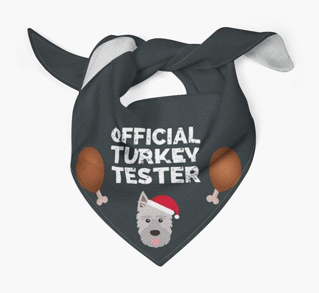 'Official Turkey Tester' Christmas Bandana with Picardy Sheepdog Icon