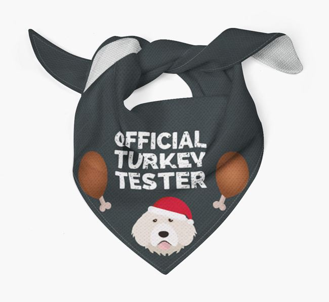 'Official Turkey Tester' Christmas Bandana with Portuguese Water Dog Icon