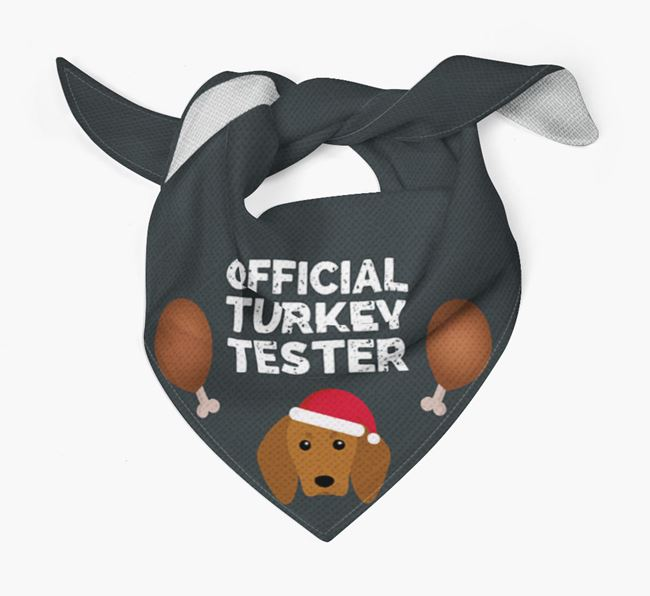 'Official Turkey Tester' Christmas Bandana with Redbone Coonhound Icon