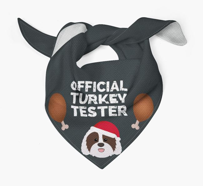 'Official Turkey Tester' Christmas Bandana with Sheepadoodle Icon