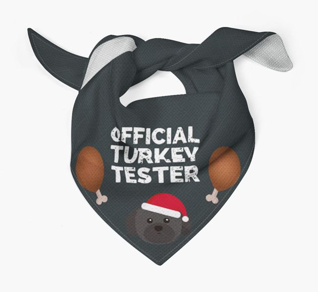 'Official Turkey Tester' Christmas Bandana with Shih Tzu Icon