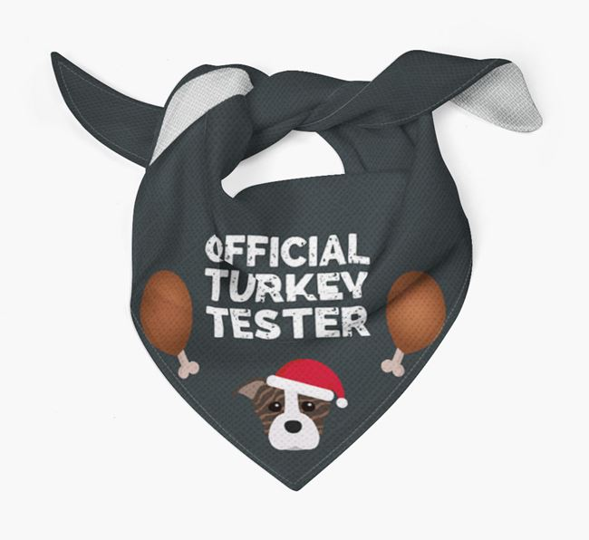 'Official Turkey Tester' Christmas Bandana with Staffordshire Bull Terrier Icon