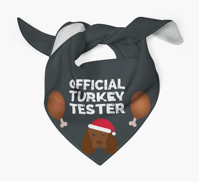 'Official Turkey Tester' Christmas Bandana with Sussex Spaniel Icon