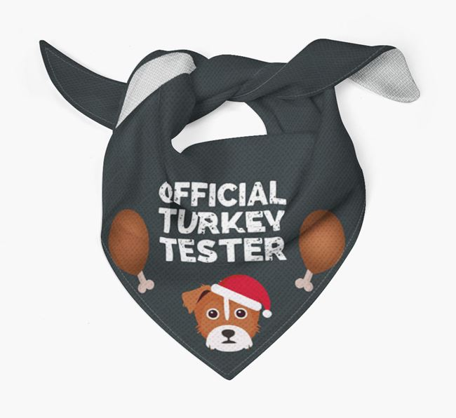 'Official Turkey Tester' Christmas Bandana with Yorkie Russell Icon