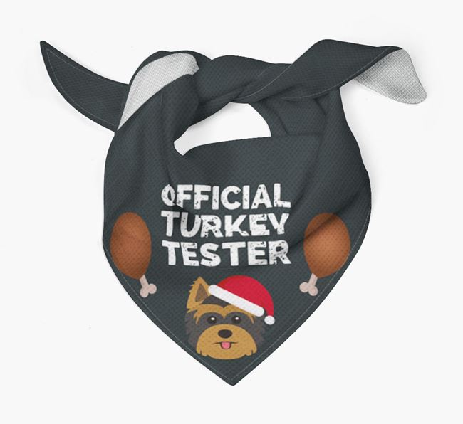 'Official Turkey Tester' Christmas Bandana with Yorkshire Terrier Icon