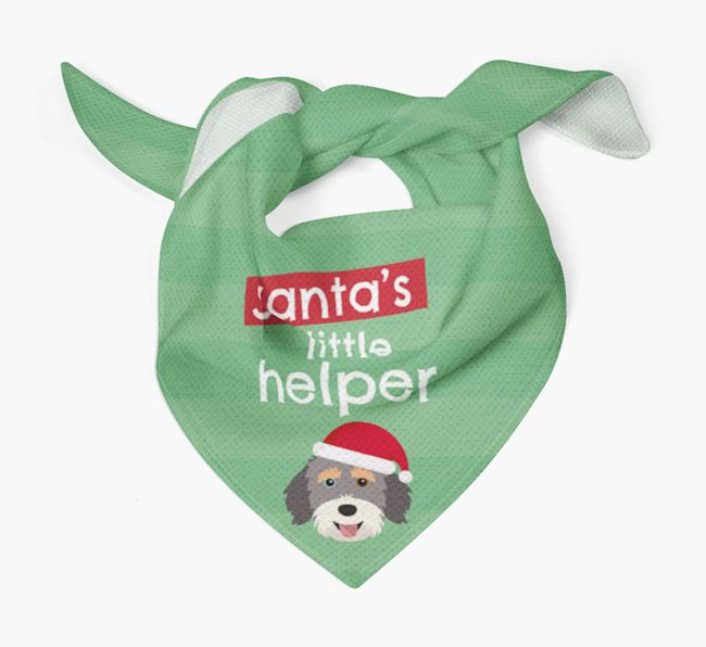 'Santa's Little Helper' Christmas Bandana with Aussiedoodle Icon