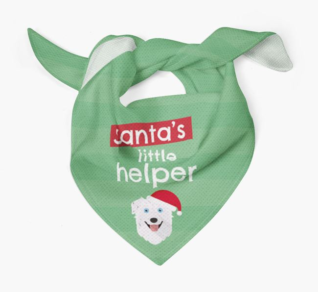 'Santa's Little Helper' Christmas Bandana with Australian Shepherd Icon