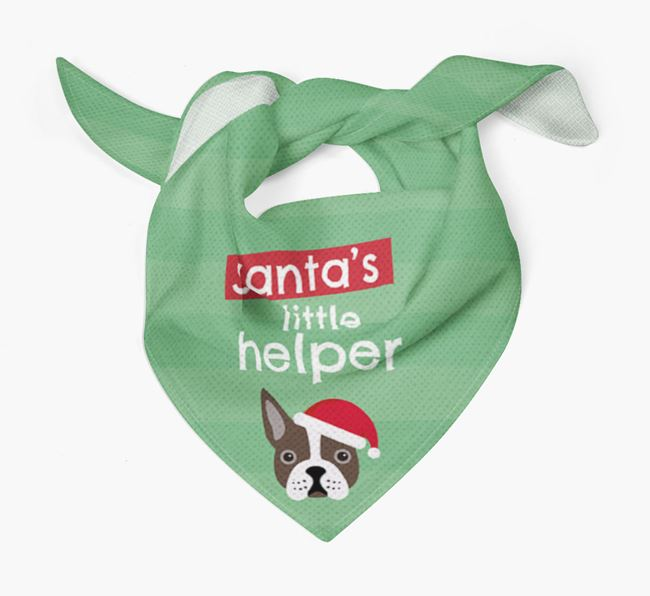 'Santa's Little Helper' Christmas Bandana with Boston Terrier Icon