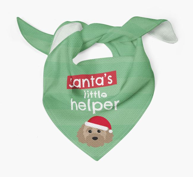 'Santa's Little Helper' Christmas Bandana with Cavapoochon Icon