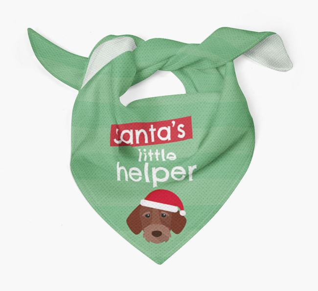 'Santa's Little Helper' Christmas Bandana with German Wirehaired Pointer Icon