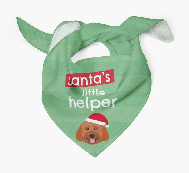 'Santa's Little Helper' Christmas Bandana with Goldendoodle Icon