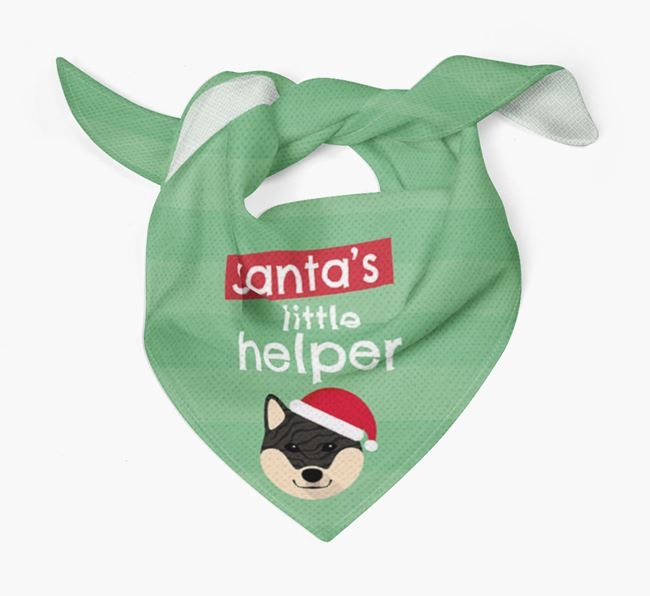 'Santa's Little Helper' Christmas Bandana with Japanese Shiba Icon