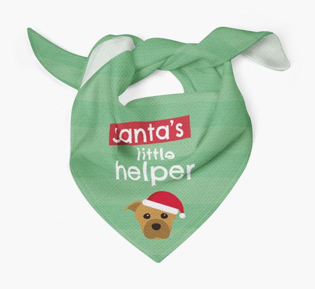 'Santa's Little Helper' Christmas Bandana with Staffordshire Bull Terrier Icon